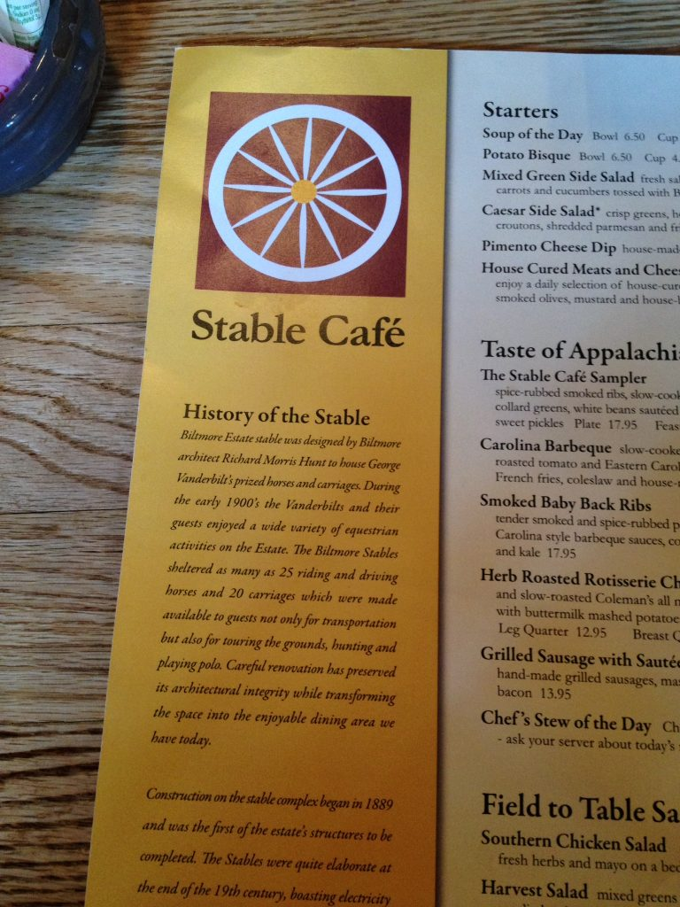 stable cafe menu