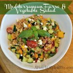 Mediterranean farro vegetable salad labeled