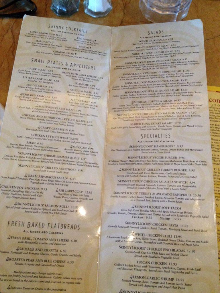 skinnylicious menu