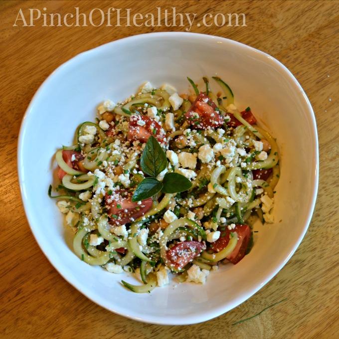 Spiralizer Greek Salad  APinchOfHealthy.com