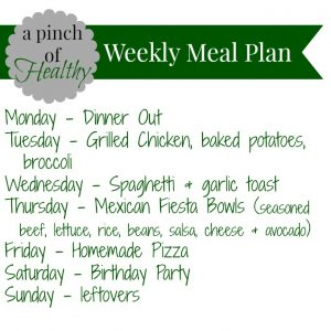 Weekly meal plan weight watchers