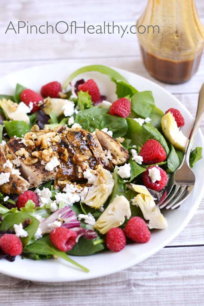 Grilled Chicken Salad w/ Raspberries, Walnuts & Artichoke Hearts| APinchOfHealthy.com
