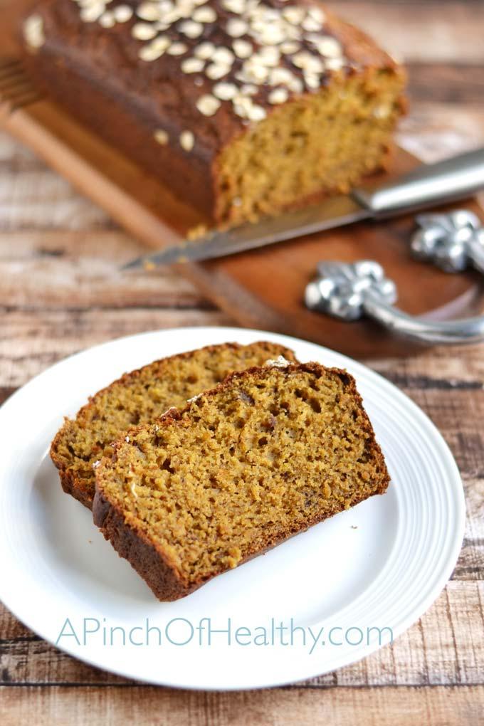 Pumpkin Spice Bread| APinchOfHealthy.com