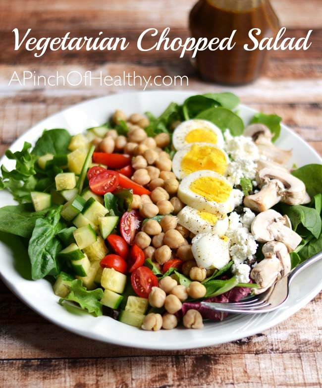 Vegetarian Chopped Salad with Chickpeas and Egg| APinchOfHealthy.com
