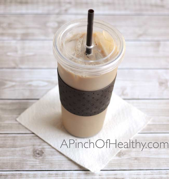 Super Simple DIY Iced Coffee| APinchOfHealthy.com