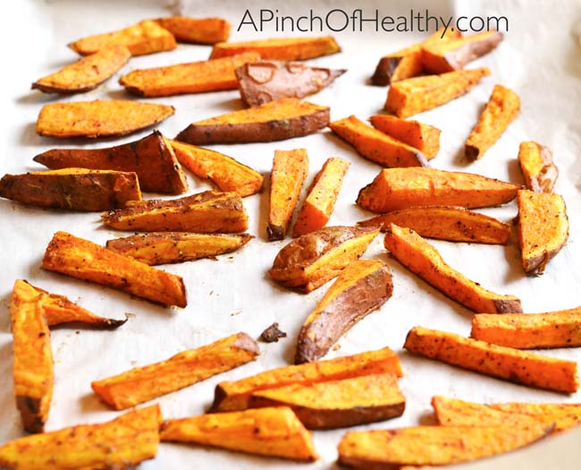 Oven Baked Sweet Potato Fries| APinchOfHealthy.com