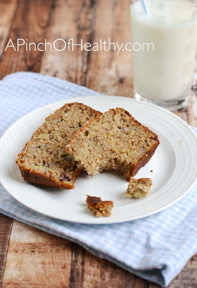 Healthier Banana Bread with Greek yogurt | APinchOfHealthy.com