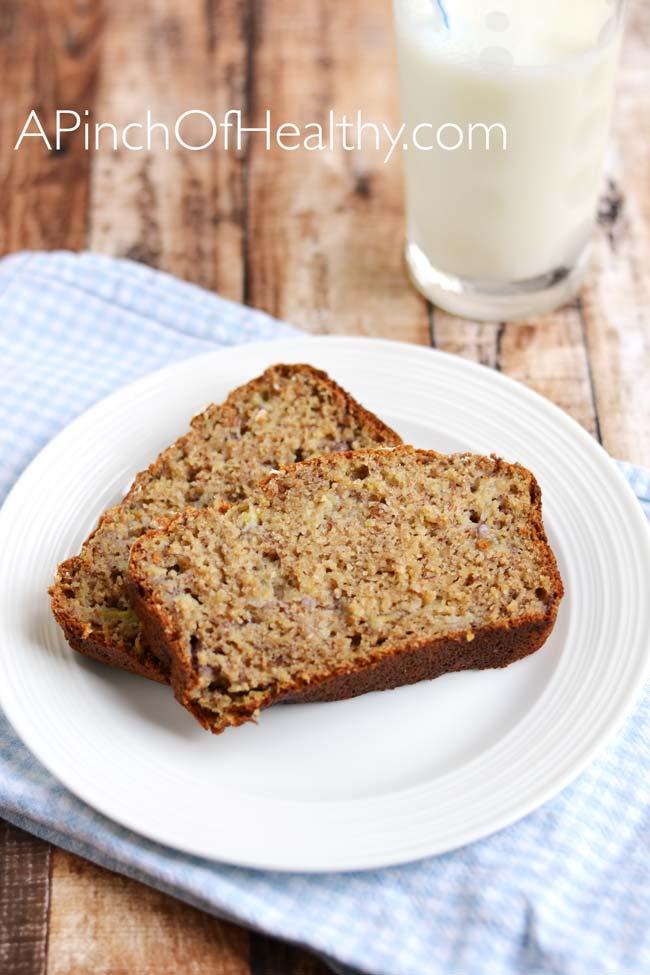 Healthier Banana Bread with Greek yogurt | APinchOfHealthy.com
