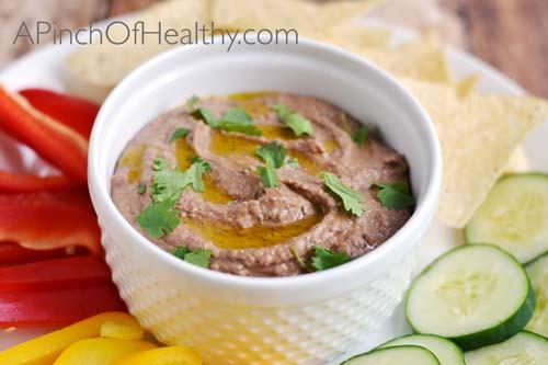 Black Bean Hummus| APinchOfHealthy.com