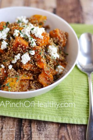 Quinoa Pilaf with Butternut Squash, Caramelized Onion and Goat Cheese