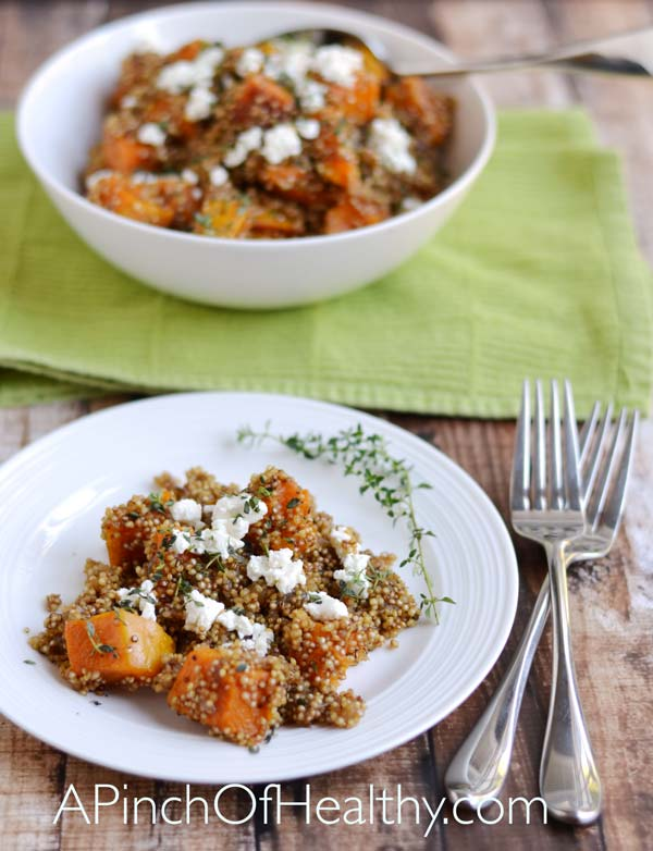 Quinoa Pilaf w/ Butternut Squash, Caramelized Onion & Goat Cheese| APinchOfHealthy.com
