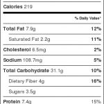 quinoa pilaf nutrition label