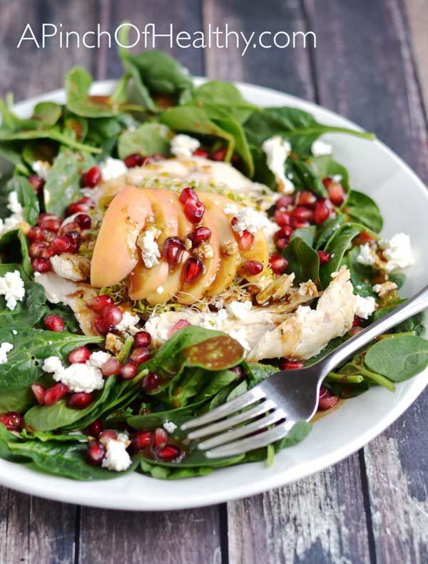 Fall Salad w/ Chicken, Apples, Pomegranate & Goat Cheese| APinchOfHealthy.com