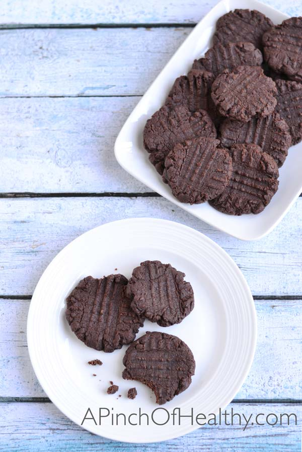 Chocolate Brownie Cookies made with coconut oil (egg free) | APinchOfHealthy.com