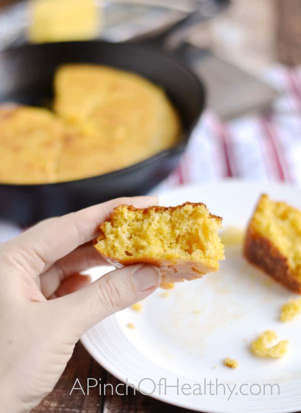 Southern Skillet Corn Bread  APinchOfHealthy.com