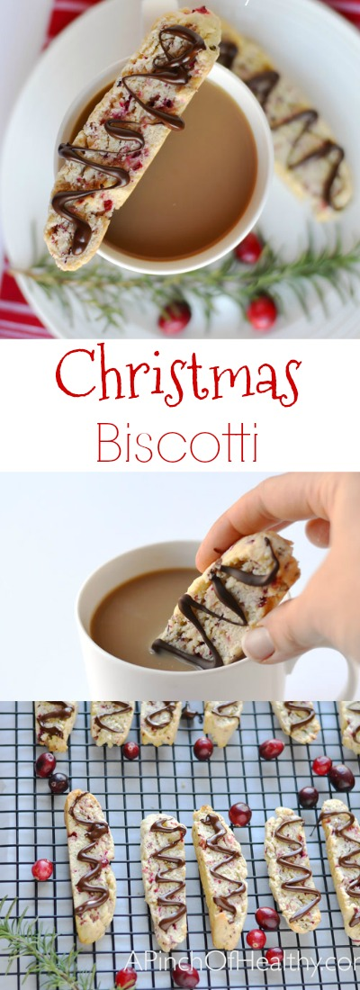 This Christmas biscotti with cranberries, rosemary and dark chocolate is an unique and deliciousflavor combination that is perfect for Christmas. | APinchOfHealthy.com