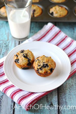 Blueberry Oat Muffins {Whole Grain, No Refined Sugar}