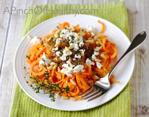 Spiralizer Sweet Potato with Goat Cheese, Caramelized Onion and Pine Nuts