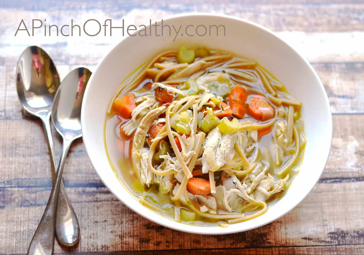 You may never buy the canned stuff again after I show you how to make chicken noodle soup from scratch. So easy and delicious! | APinchOfHealthy.com