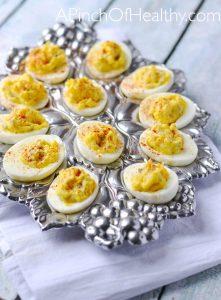 Classic Deviled Eggs| APinchOfHealthy.com