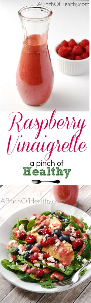 Raspberry Vinaigrette Dressing - 4 ingredients, vegan and gluten free| APinchOfHealthy.com