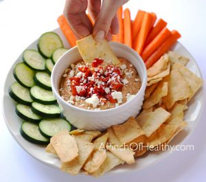 Roasted Red Pepper Hummus| APinchOfHealthy.com