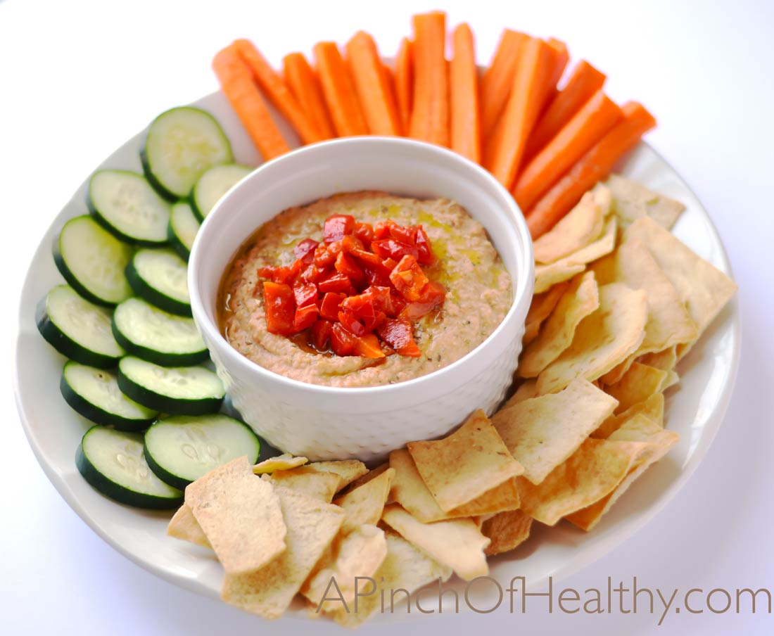 Roasted Red Pepper Hummus | APinchOfHealthy.com