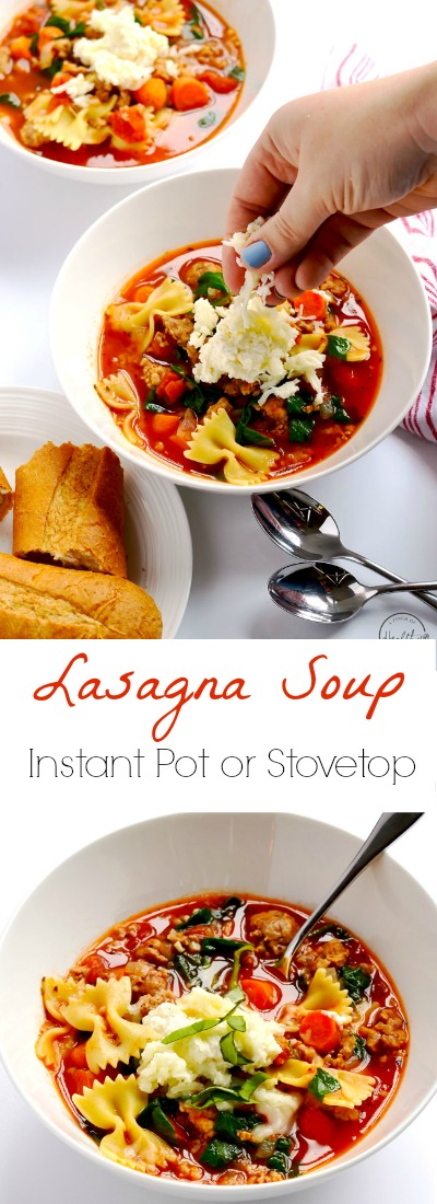 My healthy lasagna soup is a delicious, warm and comforting bowl of cheesy, gooey lasagna heaven. | APinchOfHealthy.com