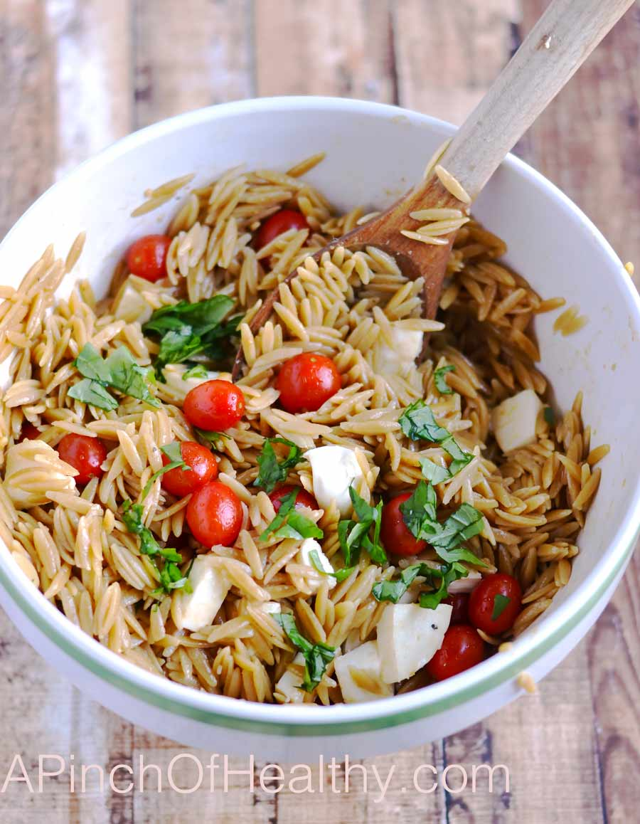 Caprese Orzo Salad - delicious side dish, perfect for a picnic or cook out.| APinchOfHealthy.com