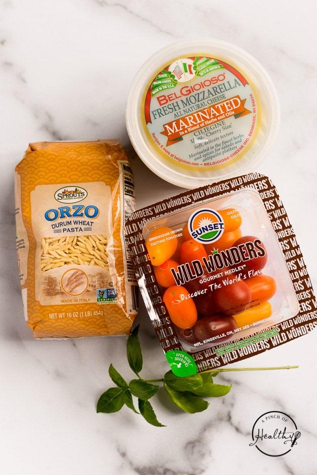 ingredients for caprese orzo salad