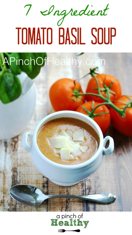 Easy Tomato Basil Soup - 7 ingredients is all you need. | APinchOfHealthy.com