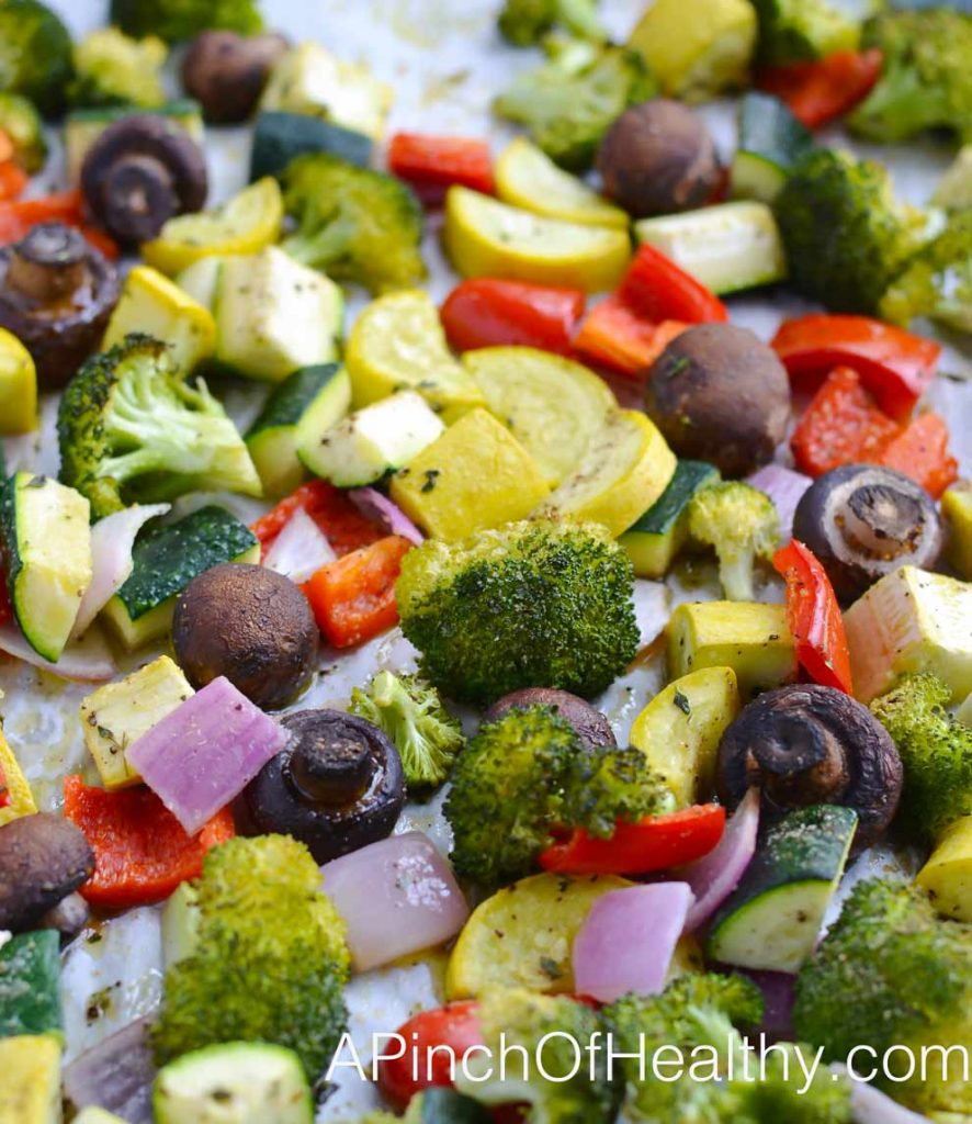 Rainbow Roasted Vegetables - simple, delicious side dish that is vegan and gluten free  APinchOfHealthy.com