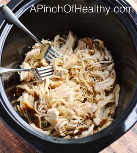 How to make easy shredded chicken in the slow cooker| APinchOf Healthy.com