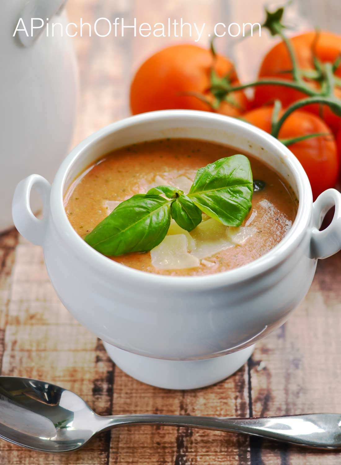 Easy Tomato Basil Soup - 20 minutes and 7 ingredients are all you need! | APinchOfHealthy.com