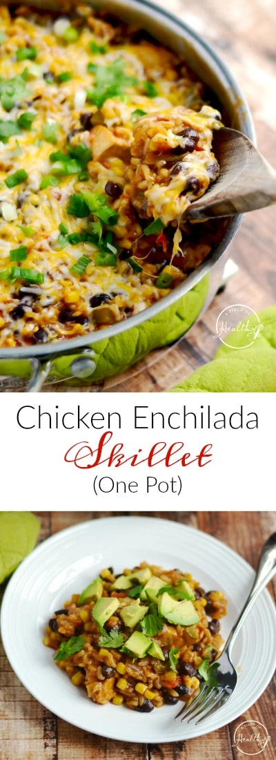 This chicken enchilada skillet is a one pot meal that your whole family will love. It is perfect for Cinco de Mayo or any day! #onepot #chicken #enchilada #cincodemayo