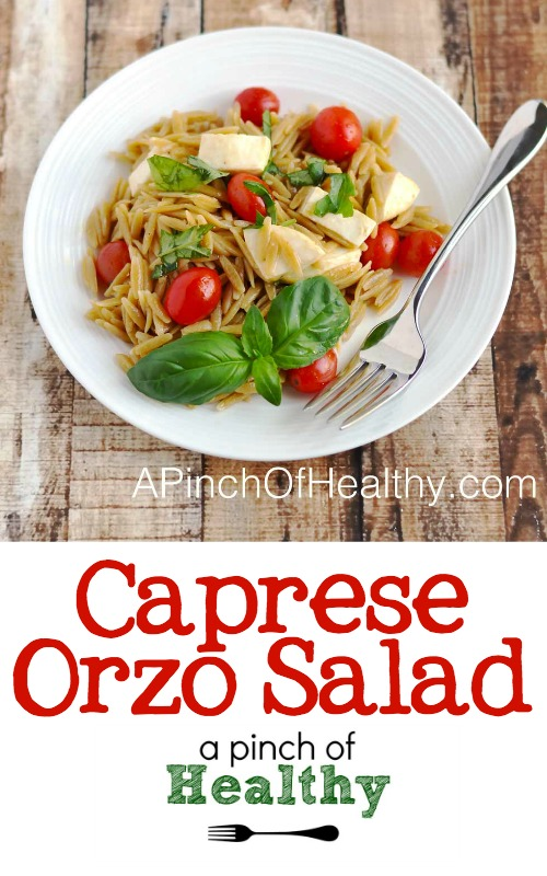 Caprese Orzo Salad - simple and delicious side dish, perfect for a picnic or barbecue| APinchOfHealthy.com