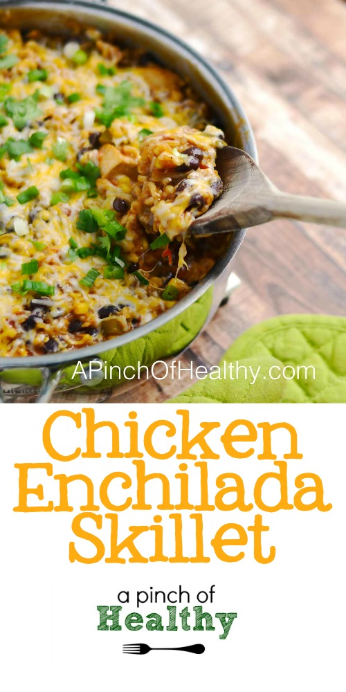 Chicken Enchilada Skillet - delicious one pot meal | APinchOfHealthy.com