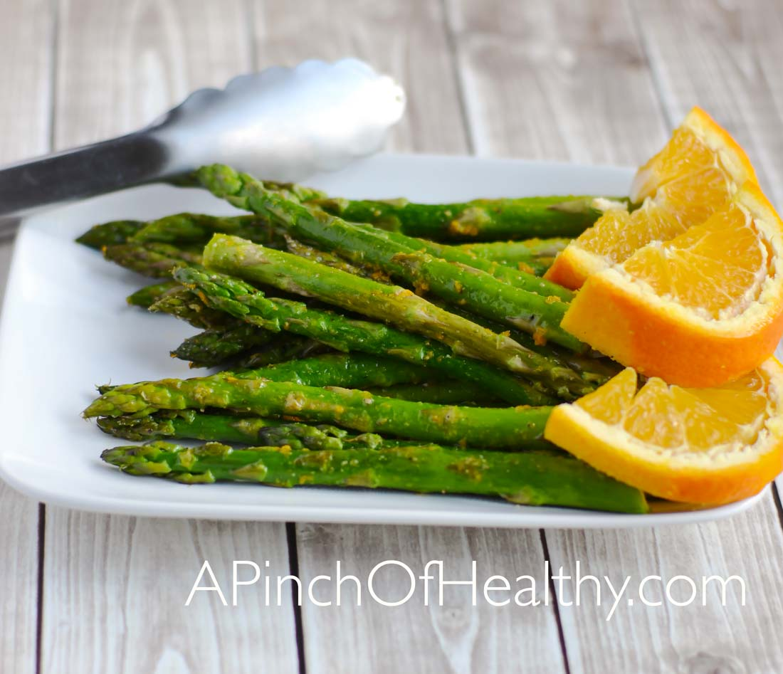 Roasted Asparagus with Orange Vinaigrette| APinchOfHealthy.com