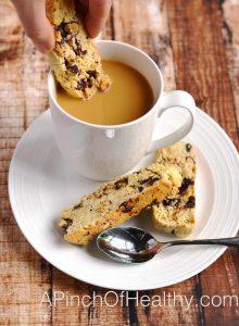Dark Chocolate Almond Biscotti | APinchOfHealthy.com