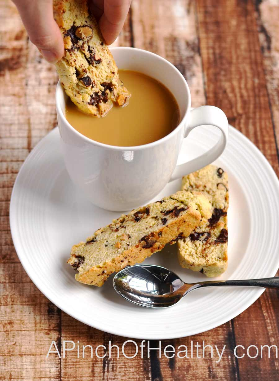 Dark Chocolate Almond Biscotti | APinchOfHealthy.com