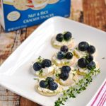 Honey, Goat Cheese and Blueberries on Blue Diamond Nut Thins| APinchOfHealthy.com