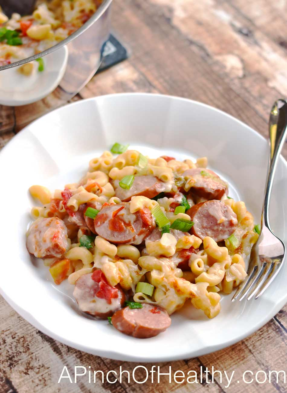 One Pot Spicy Pasta with Turkey Sausage| APinchOfHealthy.com
