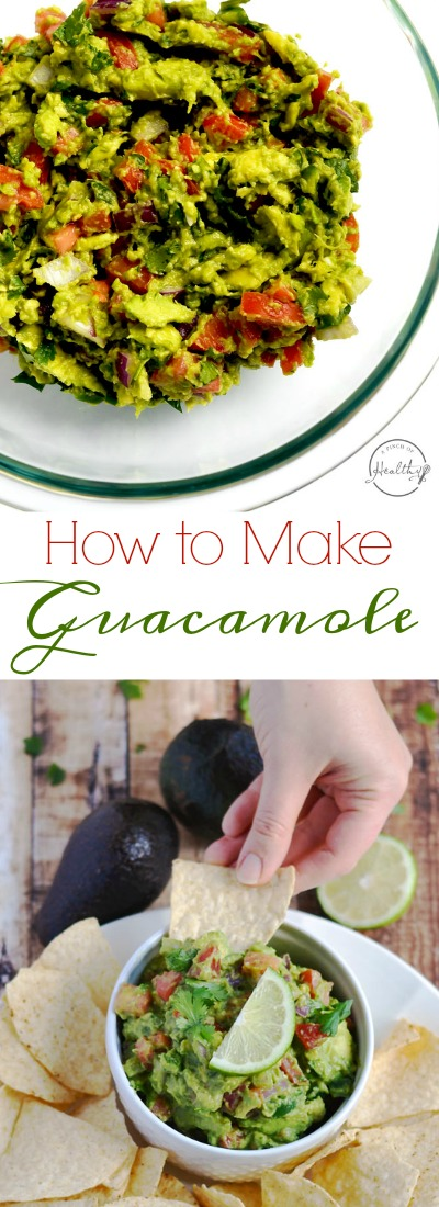 Today I am showing you how to make guacamole from scratch. My version is packed with veggies, and it is a delicious appetizer or snack.| APinchOfHealthy.com