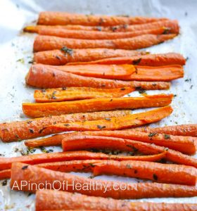 Roasted Thyme Carrots| APinchOfHealthy.com