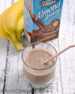 Chocolate Shake Smoothie - two ingredients and easy as a breeze to make! | APinchOfHeathy.com