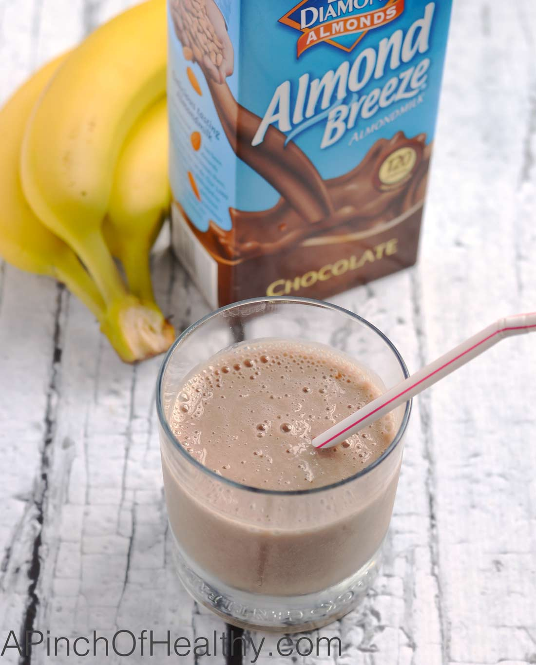 Chocolate Shake Smoothie - two ingredients and easy as a breeze to make!   APinchOfHeathy.com