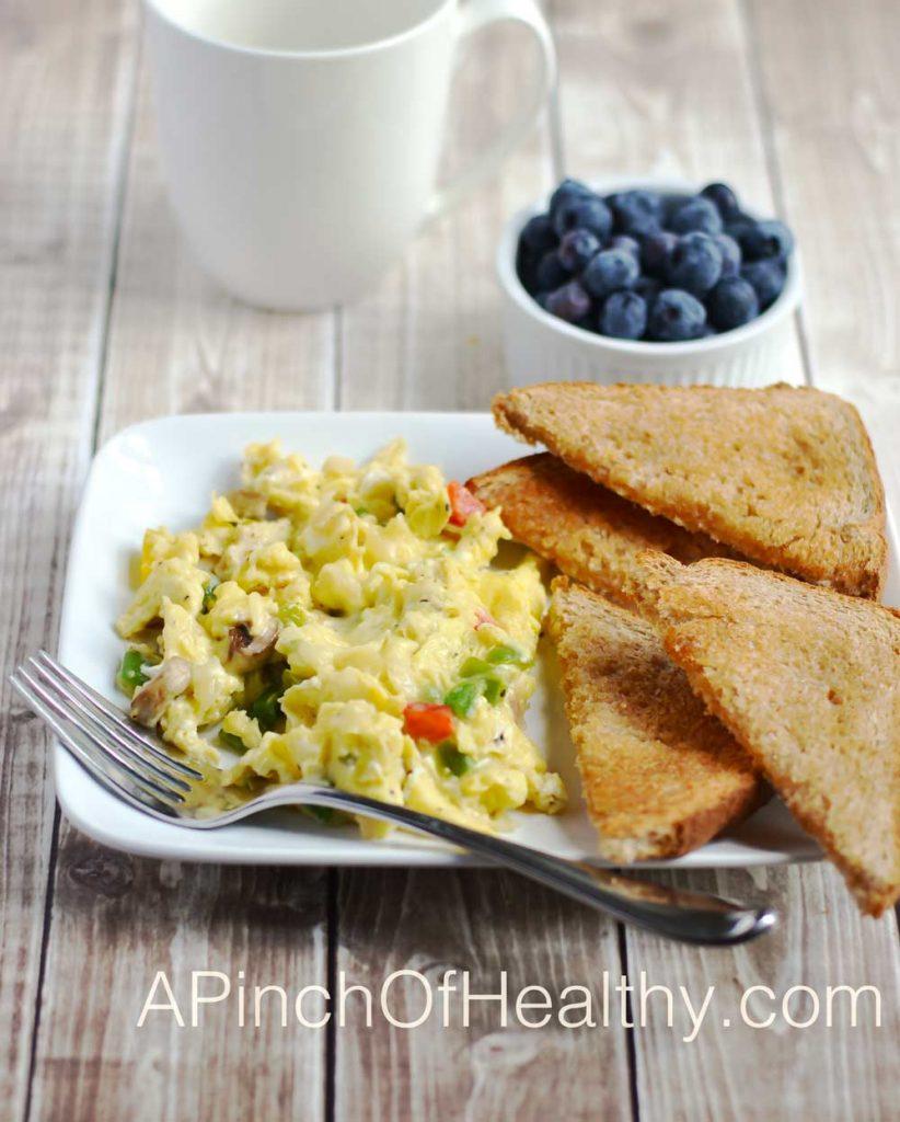 Veggie Scramble - a simple & delicious breakfast | APinchOfHealthy.com