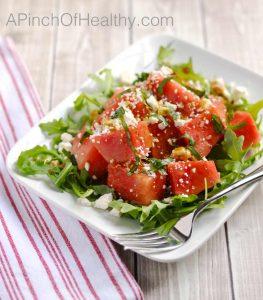 Watermelon Feta Salad | APinchOfHealthy.com