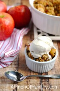 Apple Crisp with Salted Caramel Almond Topping | APinchOfHealthy.com