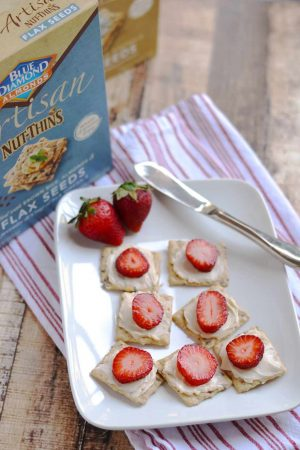 Strawberries & Light Creamy Swiss {On Blue Diamond Artisan Nut Thins}